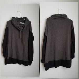Hugs Soft Surroundings cowl gray black sweater